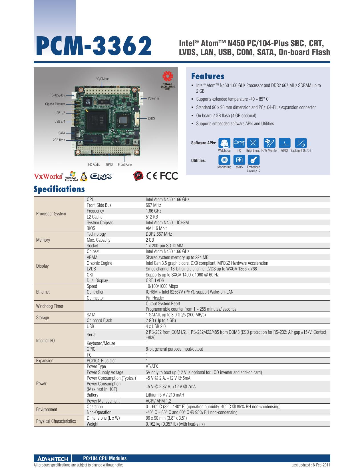Features PCM-3362 Intel® Atom™ N450 PC/104-Plus SBC | manualzz com
