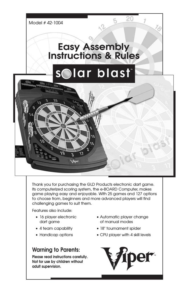 Solar Blast Dart Board Guide Manualzz Com