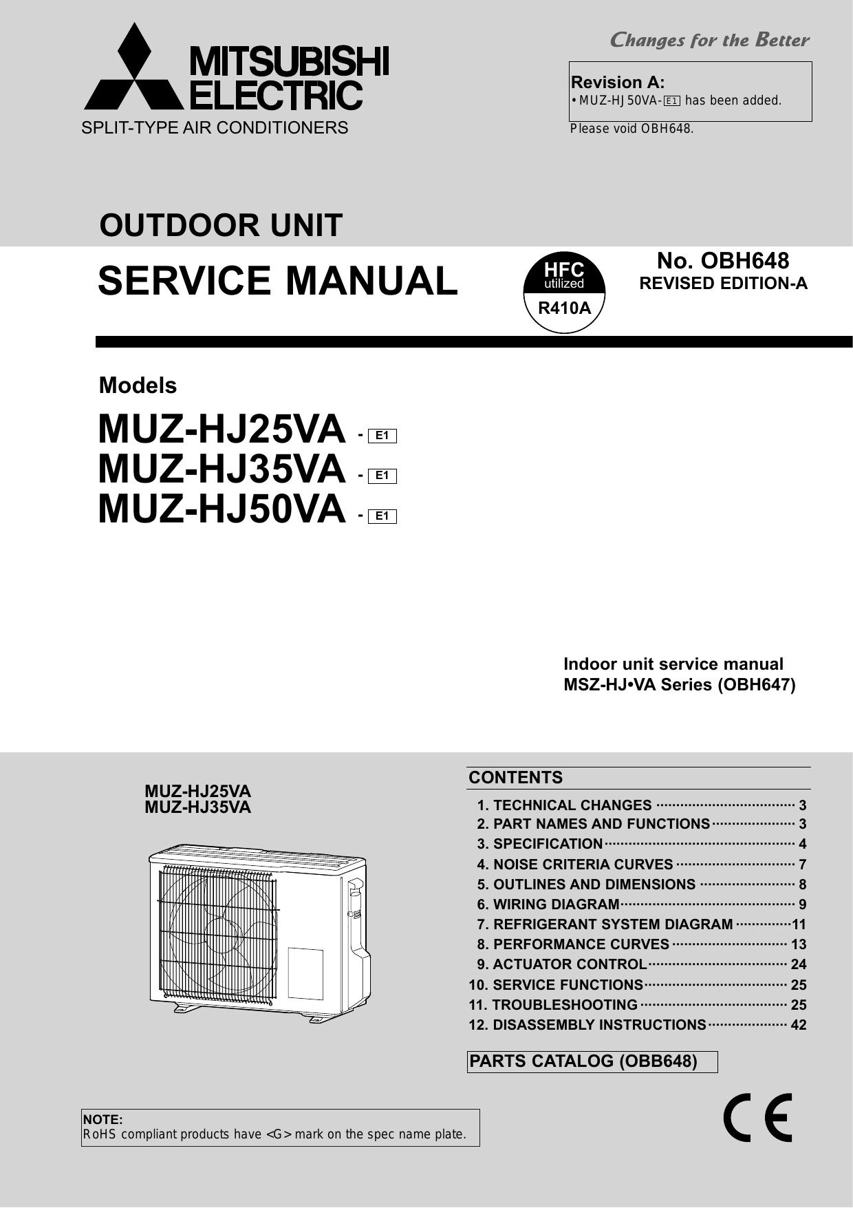 mitsubishi electric msz hj35va e1 service manual manualzz com rh manualzz com