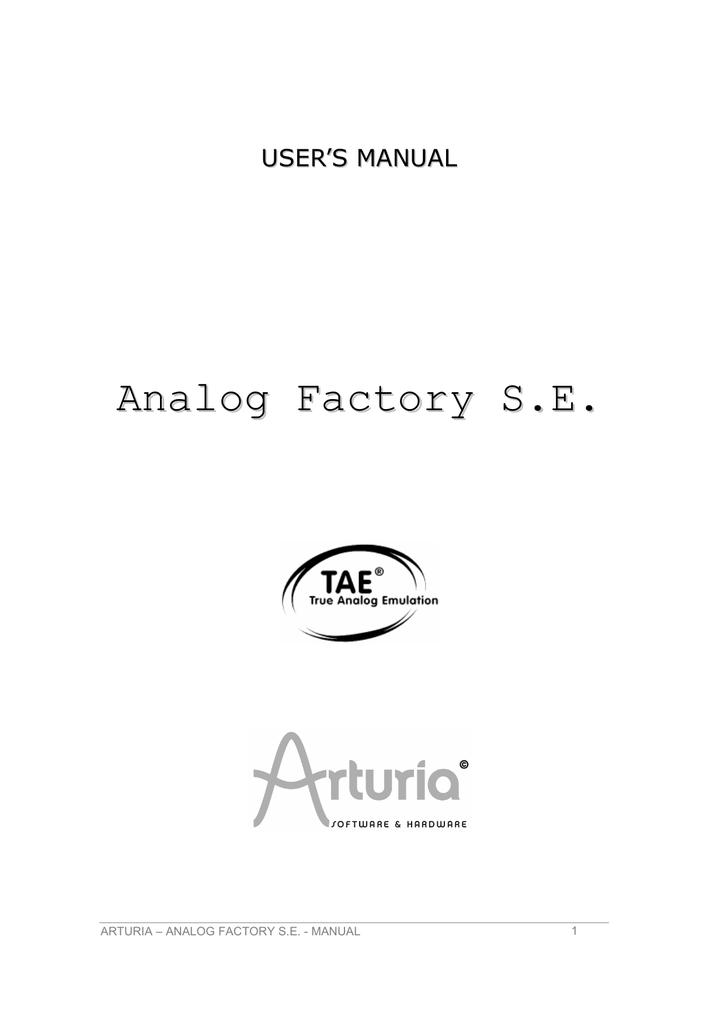 Arturia Analog Factory S E  User`s manual | manualzz com