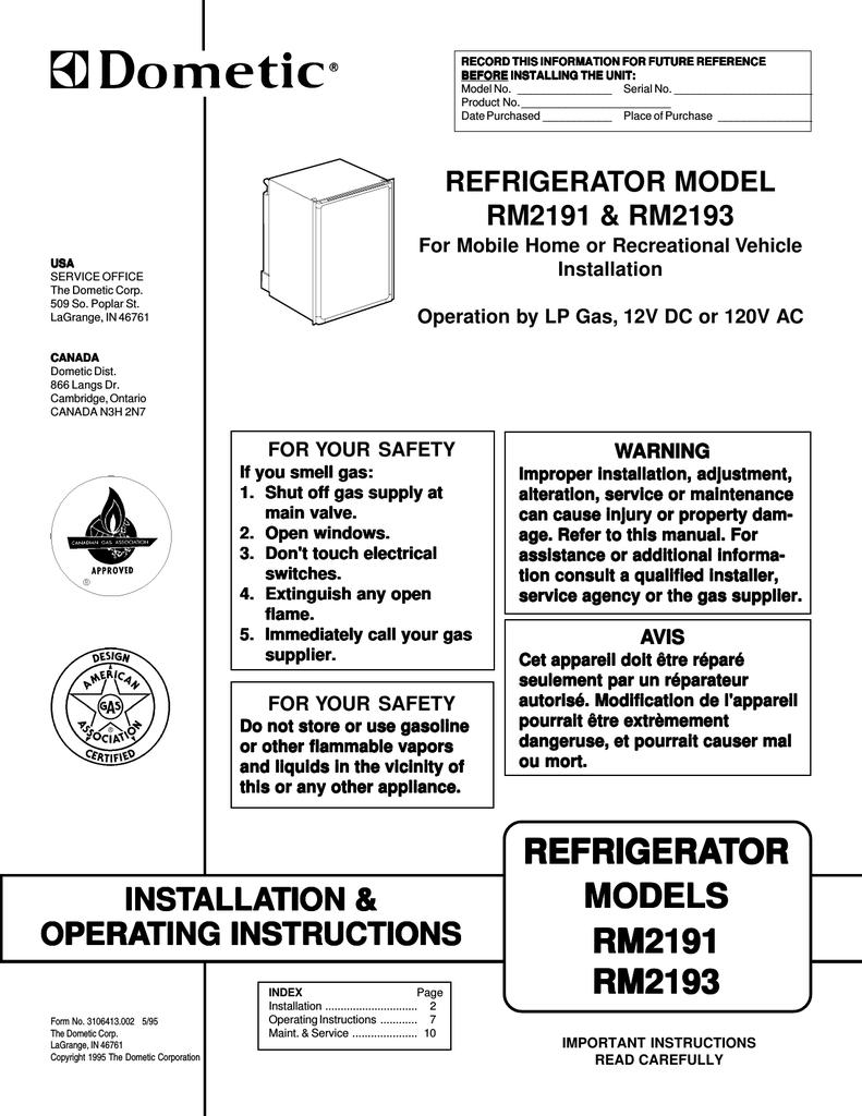 Dometic A 803 K Operating instructions   manualzz com