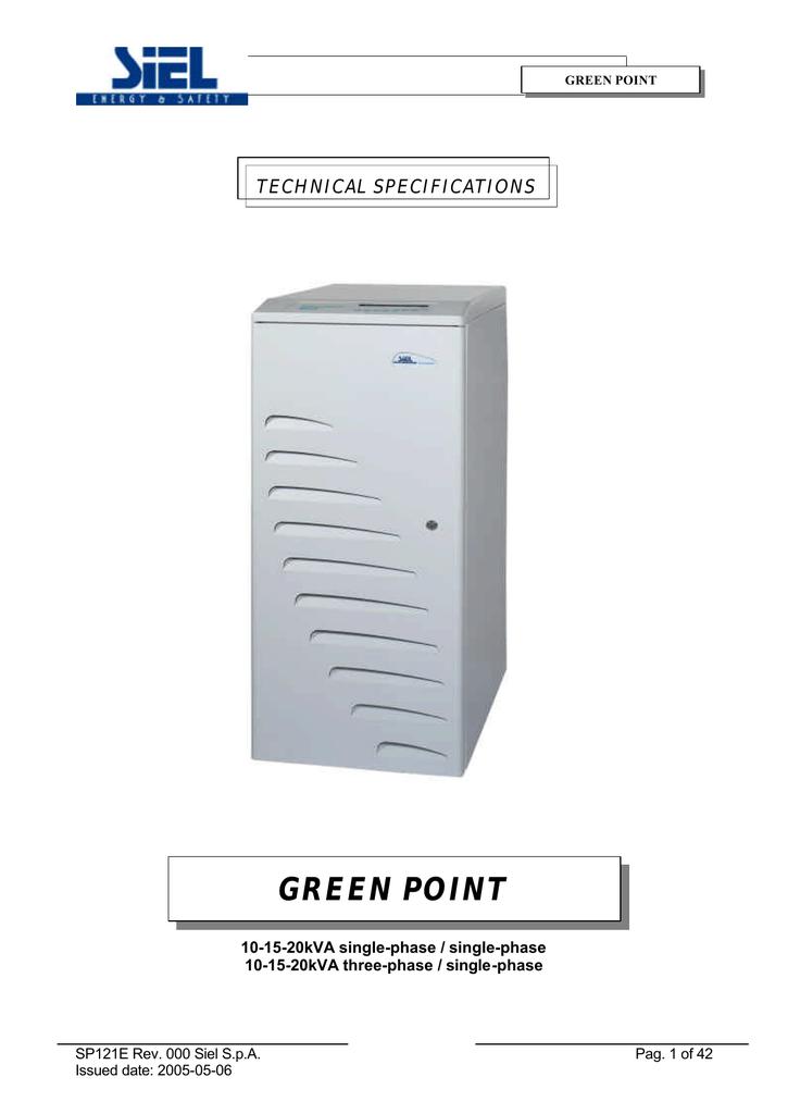 Siel Green Point 6:20KVA Specifications | manualzz com