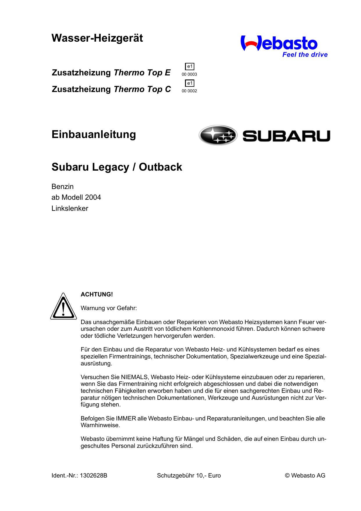 Wasser-Heizgerät Einbauanleitung Subaru Legacy / Outback   manualzz.com