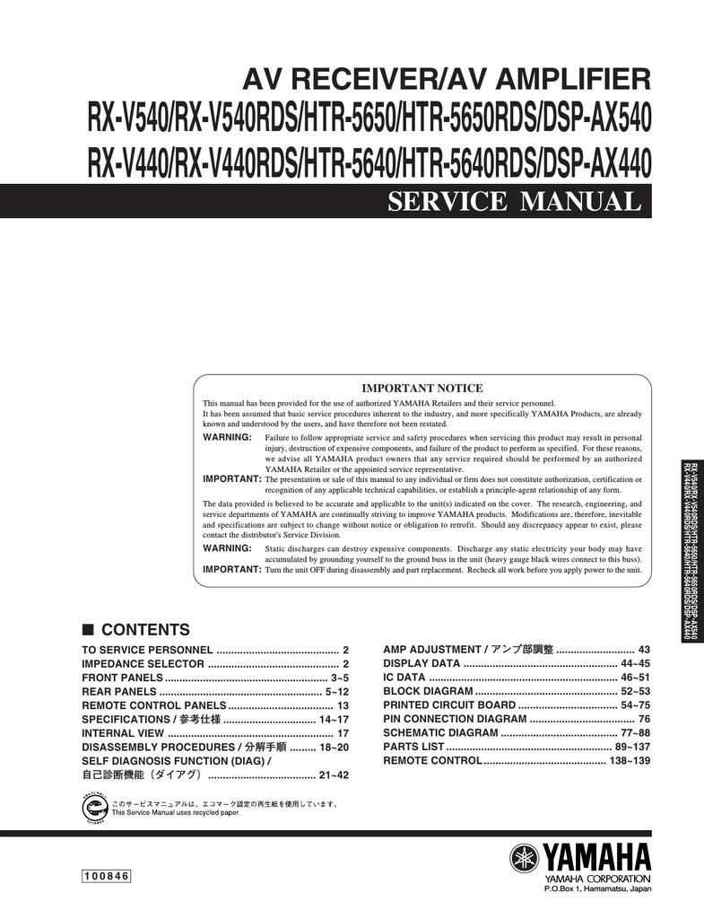 Yamaha Rx V440rds Service Manual Cbl Cbl2 Labpro Control Circuit Diagram