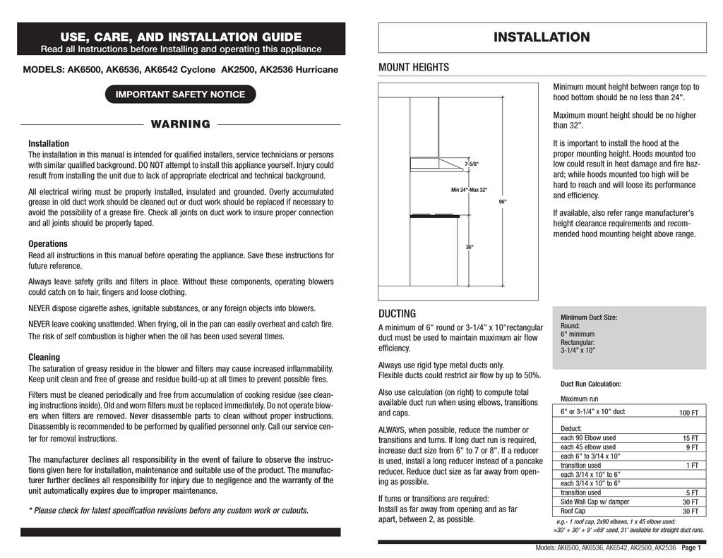 zephyr ak6542 installation guide