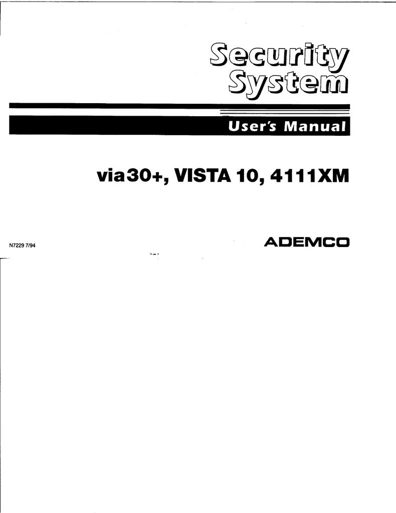 ADEMCO VIA 30+ User`s guide   manualzz com