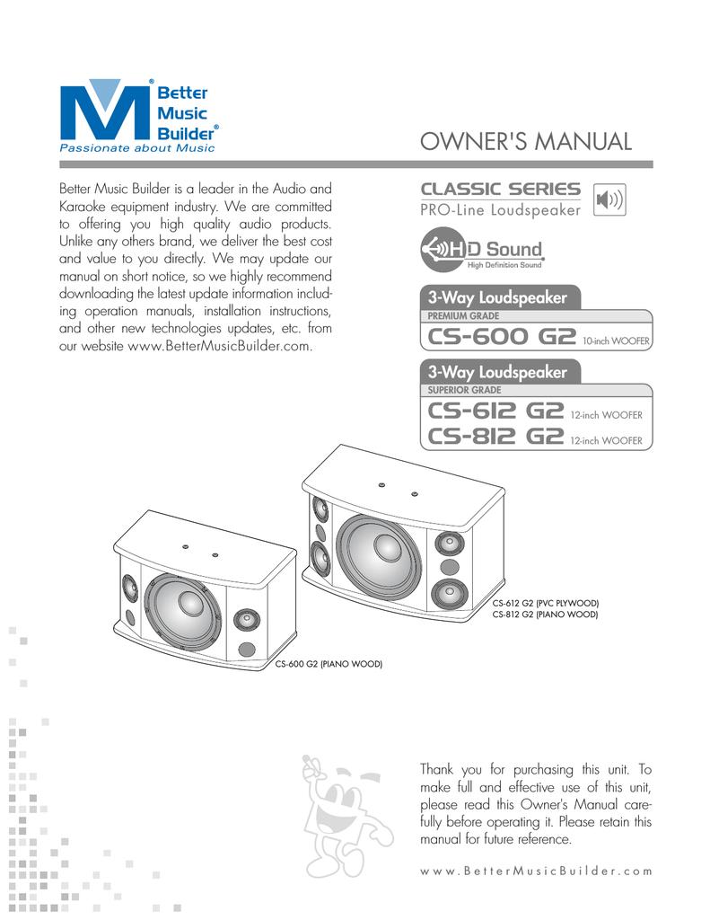 Better Music Builder CS-812 G2 Owner`s manual | manualzz com