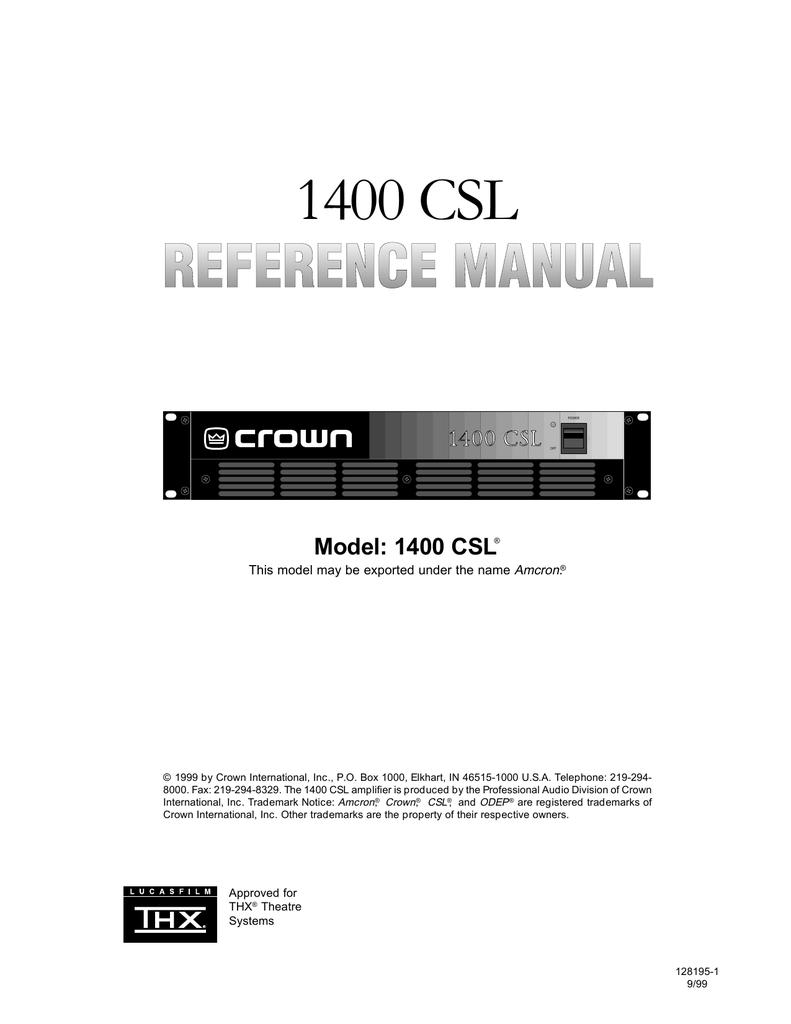 crown 1400csl specifications manualzz com rh manualzz com