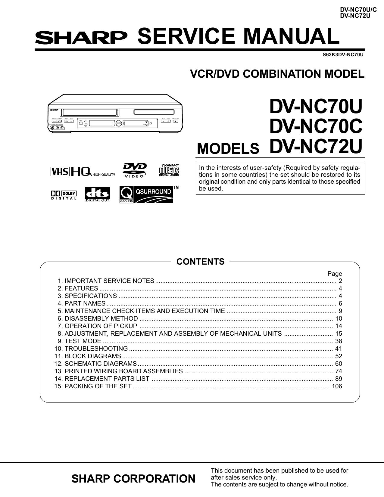 Sharp DV-NC70U Service manual | manualzz.com on