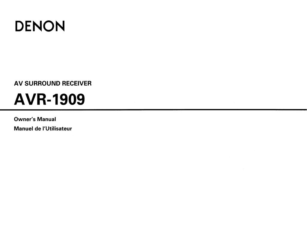 Denon AVR 1909 - AV Receiver Owner`s manual | manualzz com