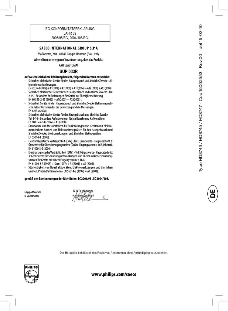 Brühgruppe für Saeco Xsmall HD8743 HD8745 HD8747 SUP033R