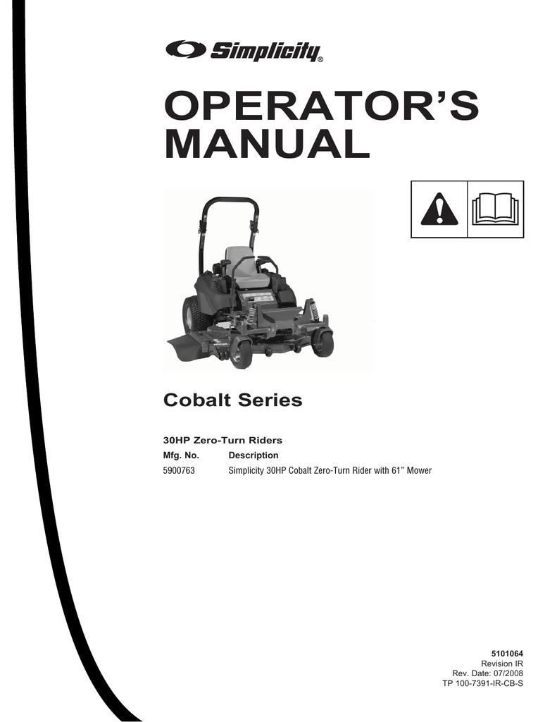 Simplicity Cobalt 5900763 Operator`s manual | manualzz com