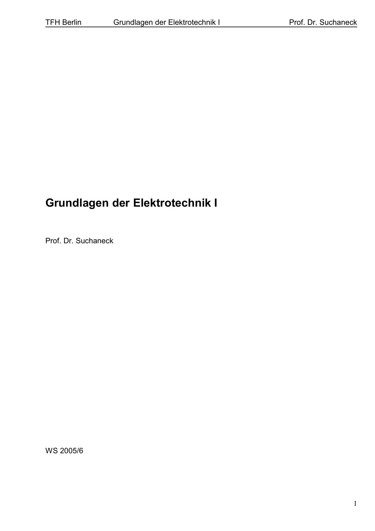 Grundlagen der Elektrotechnik I - Beuth Hochschule für Technik ...