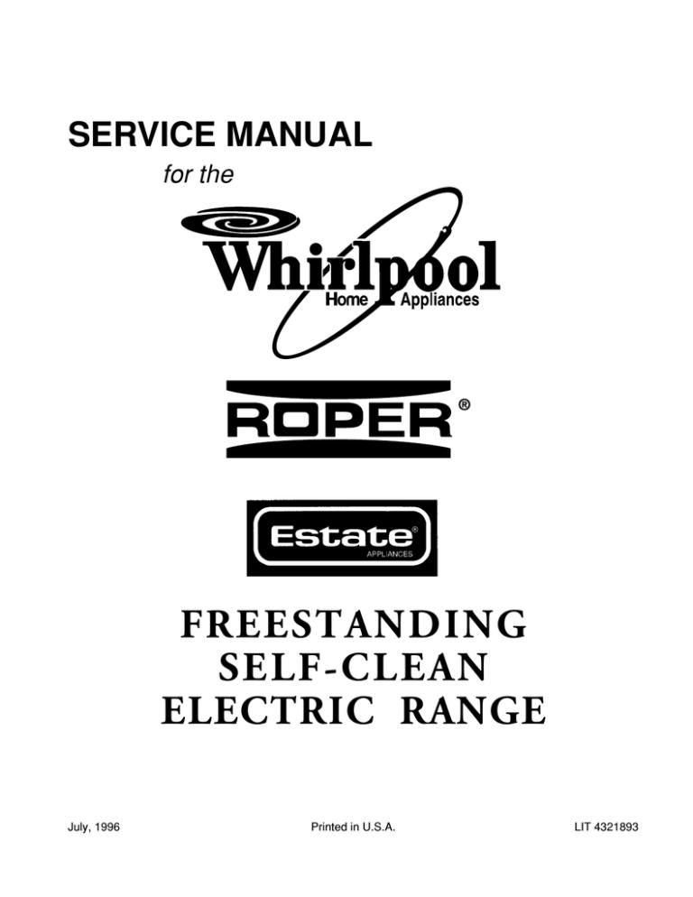 Whirlpool Electric Range Service Manual