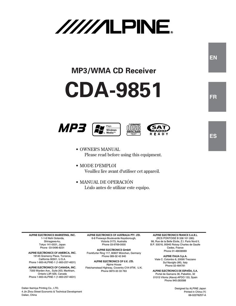 alpine cda 9851 radio cd owner s manual manualzz com rh manualzz com Alpine CDA 9851 Manual Alpine CDA 9851