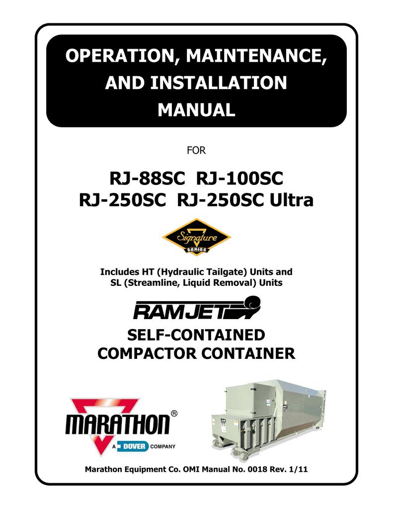 marathon rj-250sc installation manual