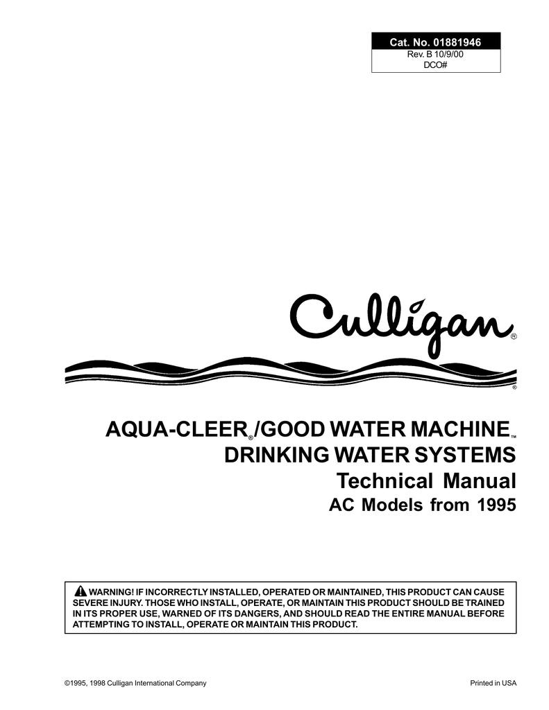 culligan goodwater machine drinkingwater system specifications rh manualzz com culligan ac30 manual culligan ac30 manual