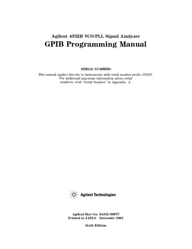 Agilent Technologies 4352B Service manual | manualzz com