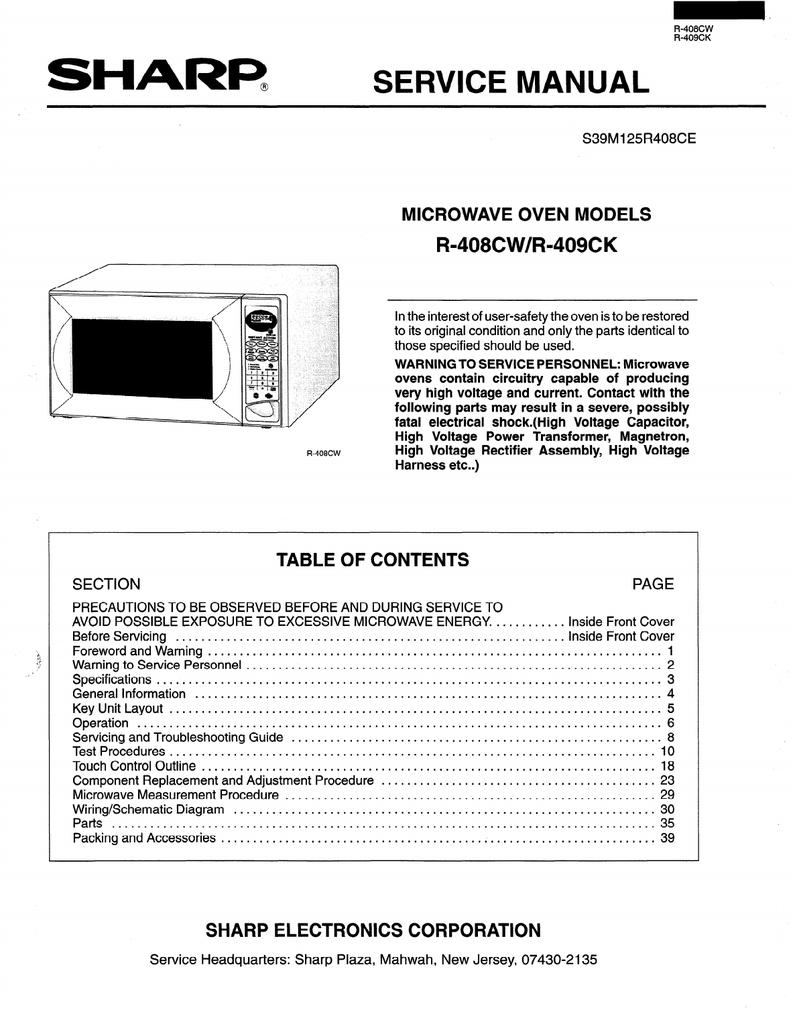 Sharp R-408HWM Service manual | manualzz.com on