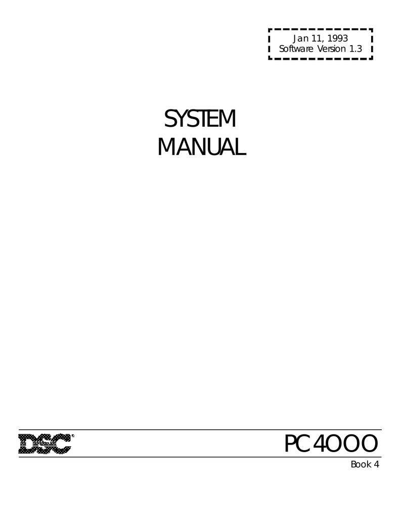 Dsc System Master Pc4000 Installation Manual Com Bus Wiring Diagram