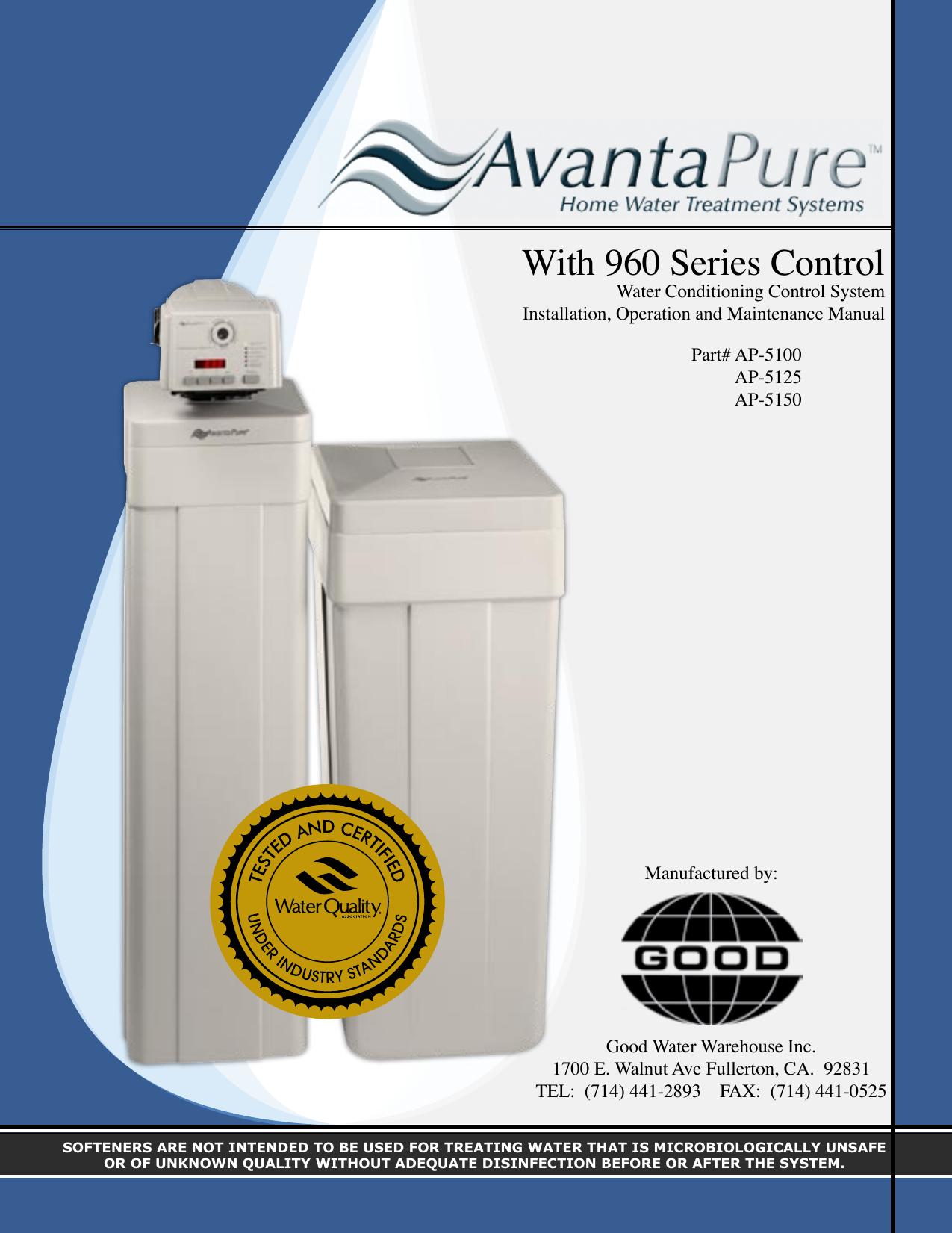 Elegant Avantapure Water softener