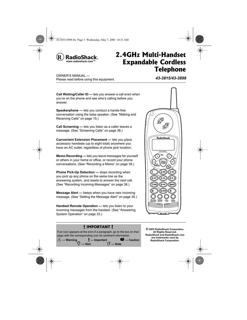 RADIOSHACK 43-142  5.GHZ CORDLESS HANDSET