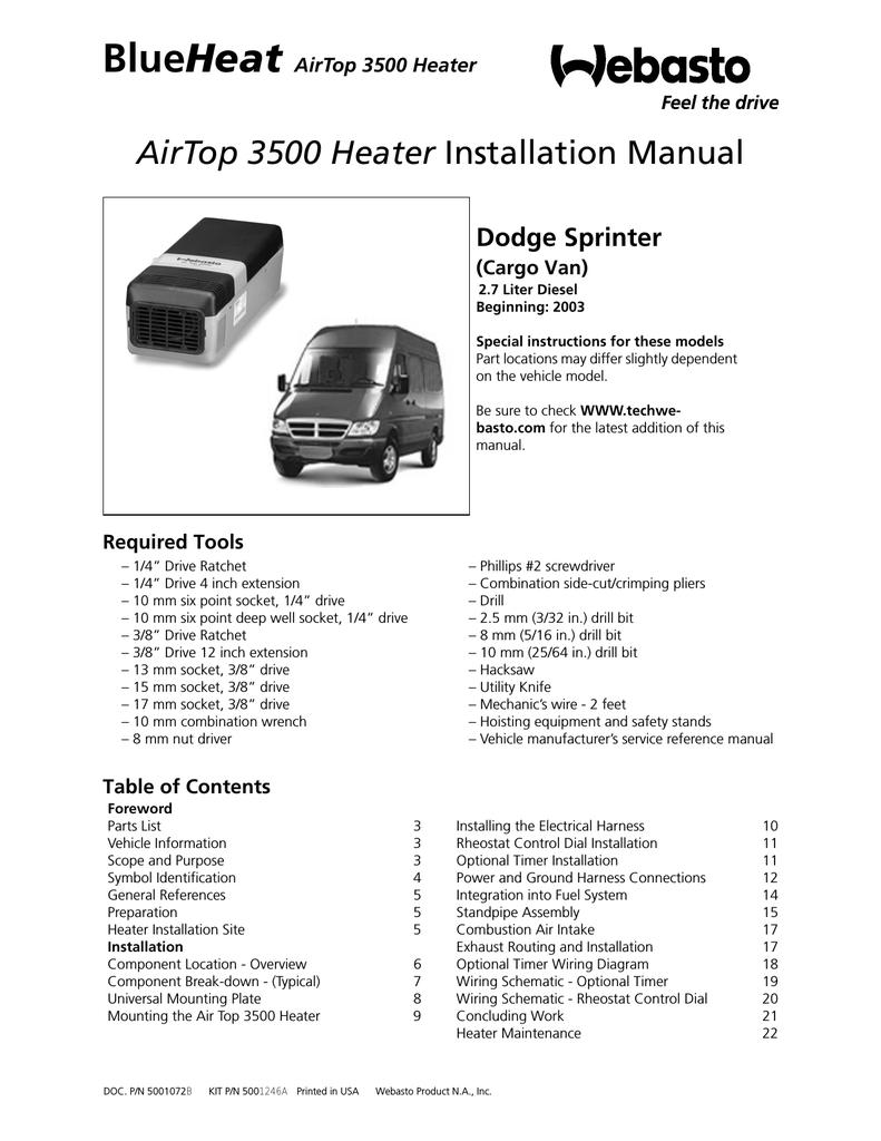 Webastoto Air Top 3500 Installation Manual Wiring Diagram For Dodge Van