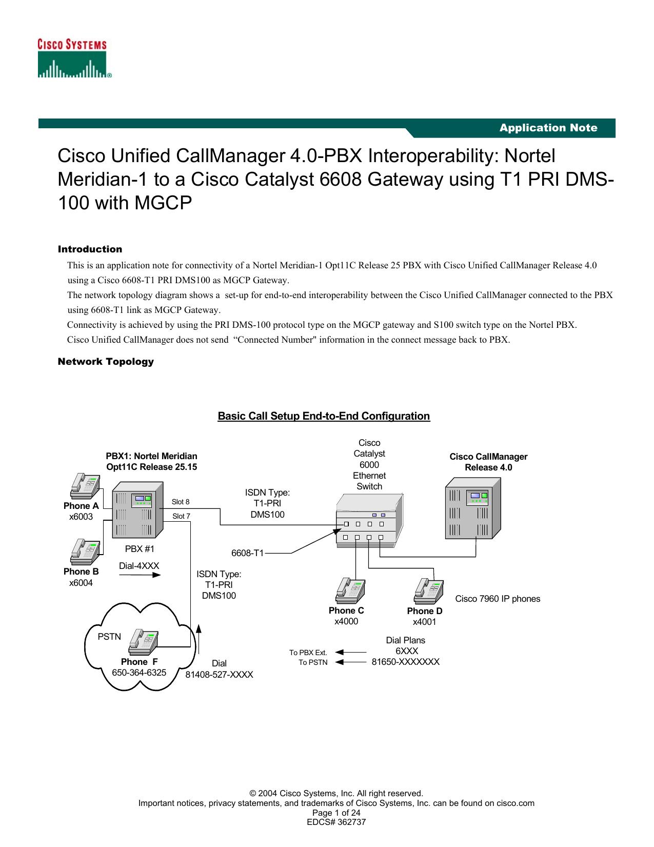 Cisco Unified CallManager 4 0-PBX Interoperability: Nortel