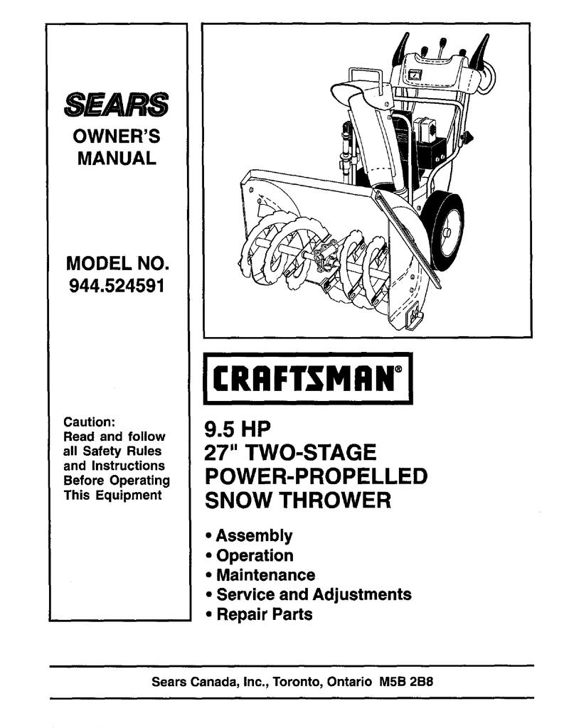 craftsman 24 inch snowblower manual 944