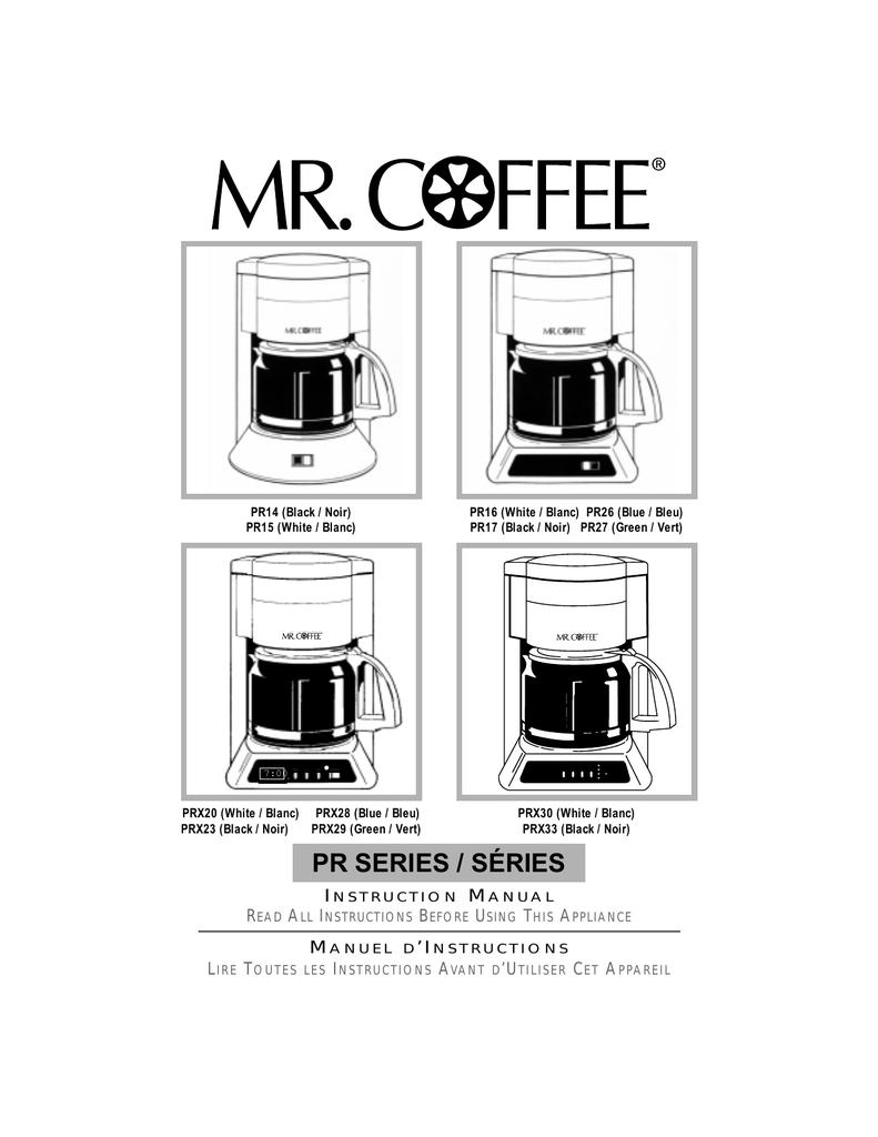Mr Coffee Prx29 Instruction Manual Manualzz