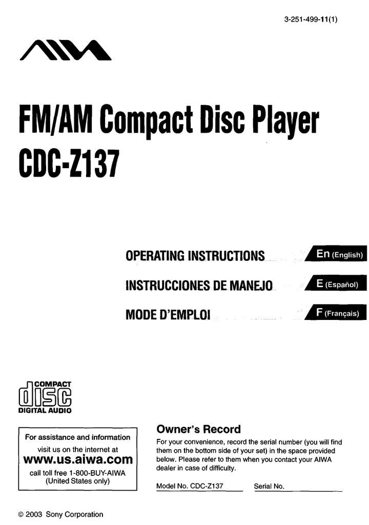 Aiwa CDC-Z137 Operating instructions | manualzz.com on
