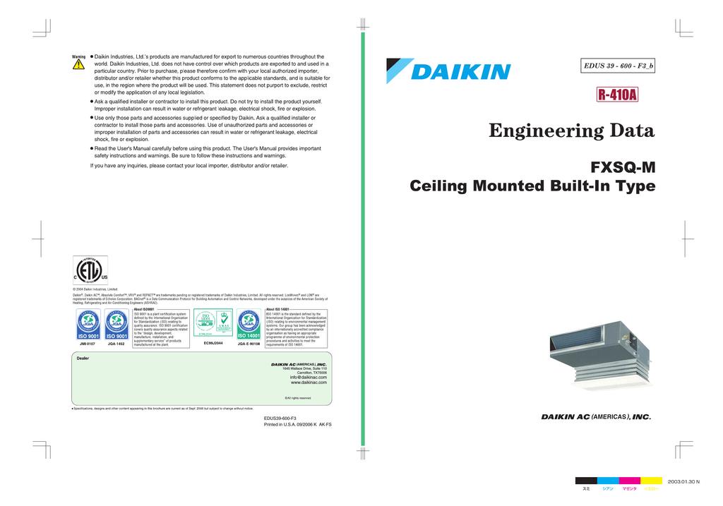 Daikin FXDQ-M Specifications | manualzz com