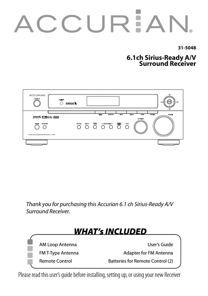 Radio Shack ACCURIAN 6 1ch Sirius-Ready A/V Surround