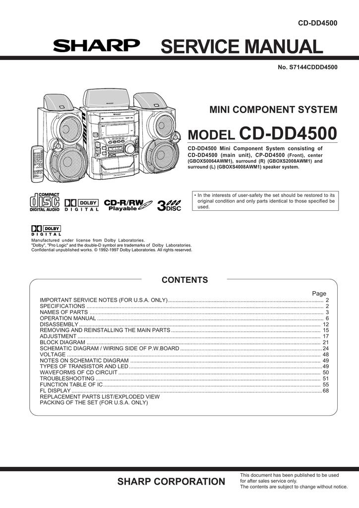 Sharp CD-DD4500 Service manual   manualzz.com