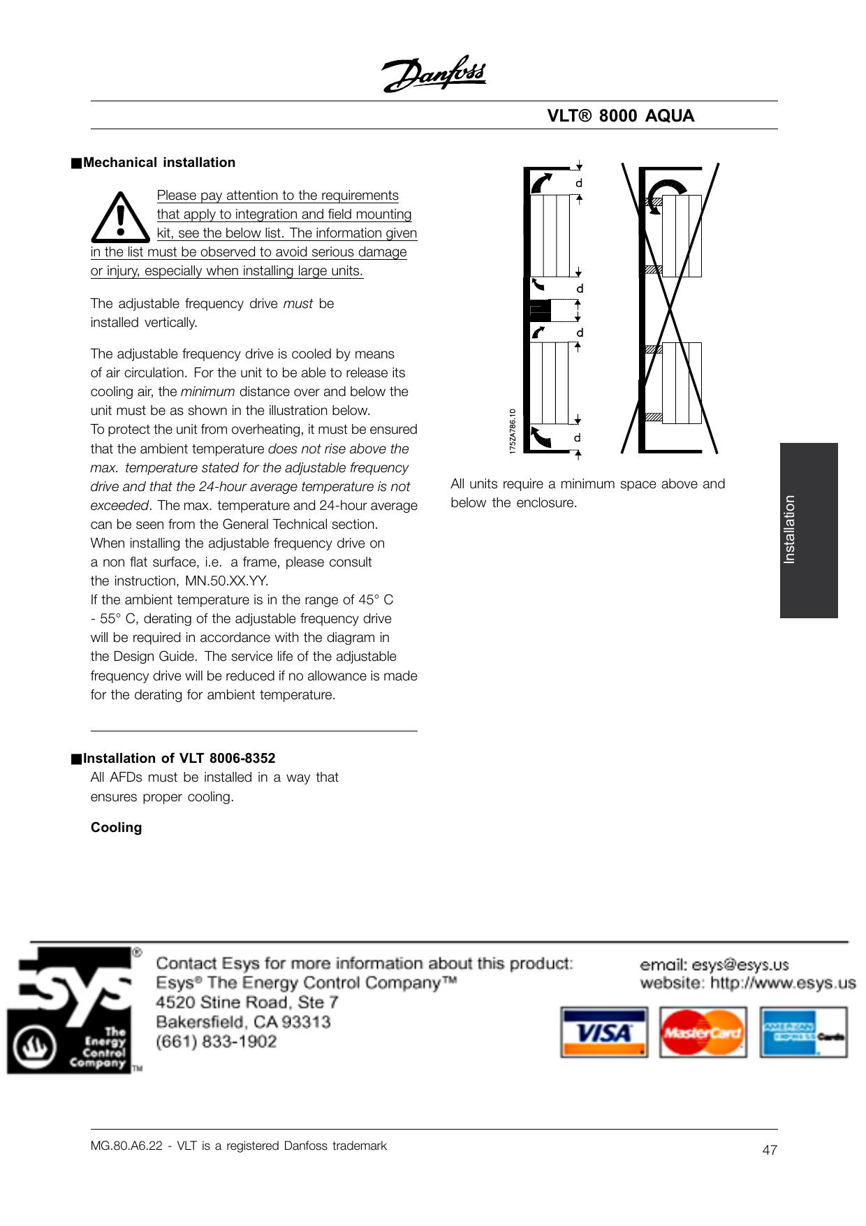 danfoss vlt 8000 aqua installation guide