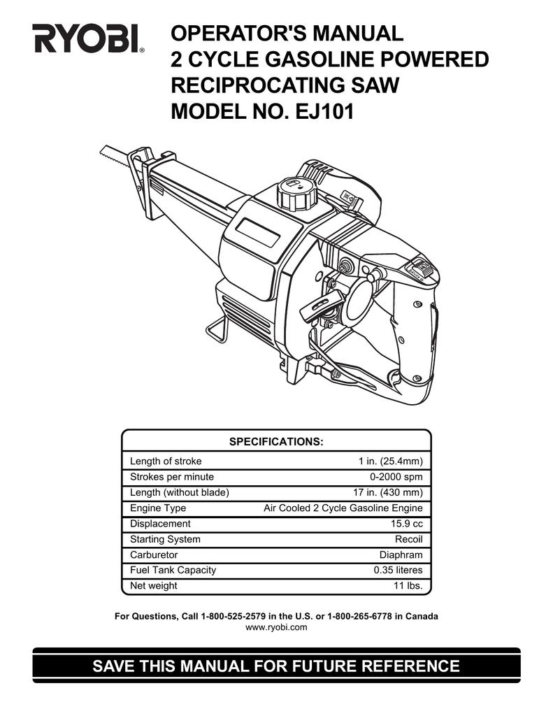 Ryobi Ej101 Operators Manual Gasoline Powered Engine Diagram