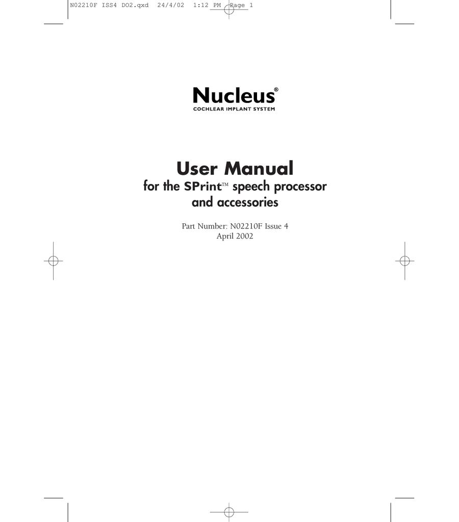 cochlear sprint sound processor user manual