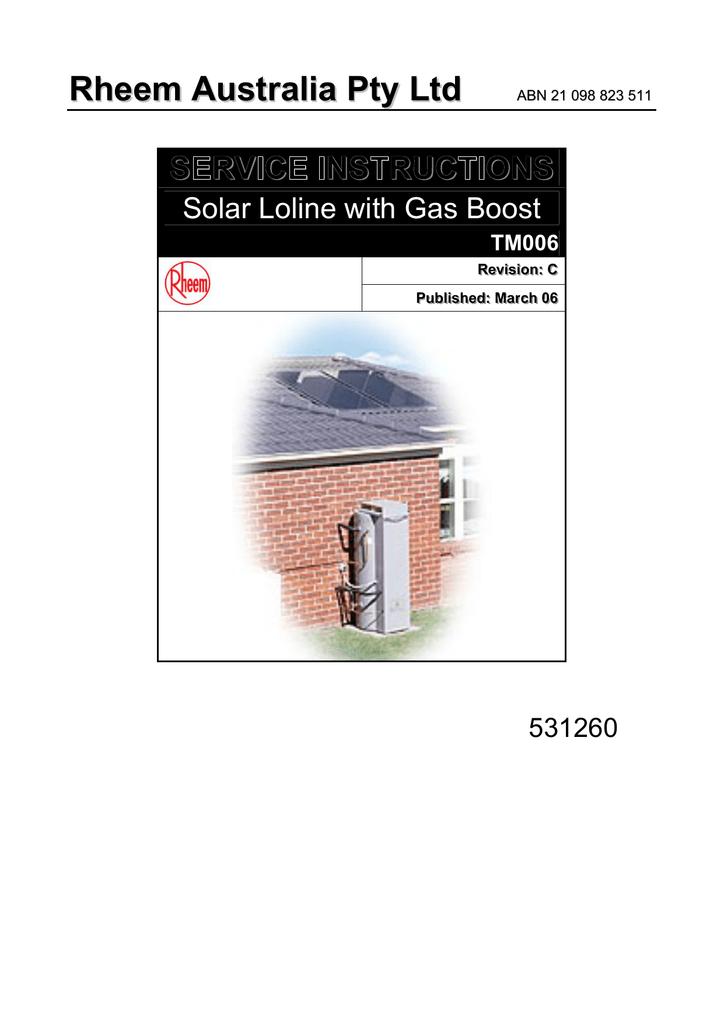 Rheem Solar Loline Water Heater Specifications | manualzz com