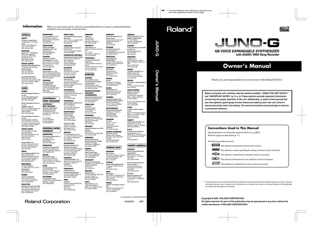 Roland JUNO-G Owner`s manual | manualzz com