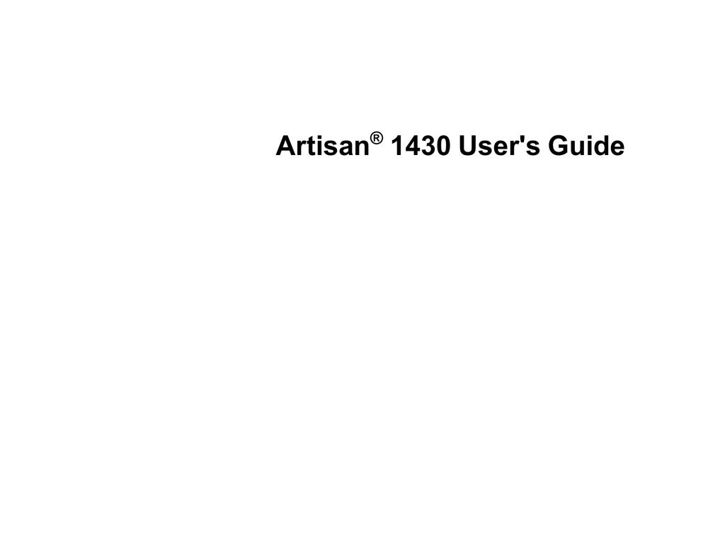 Epson Artisan 1430 User`s guide | manualzz com