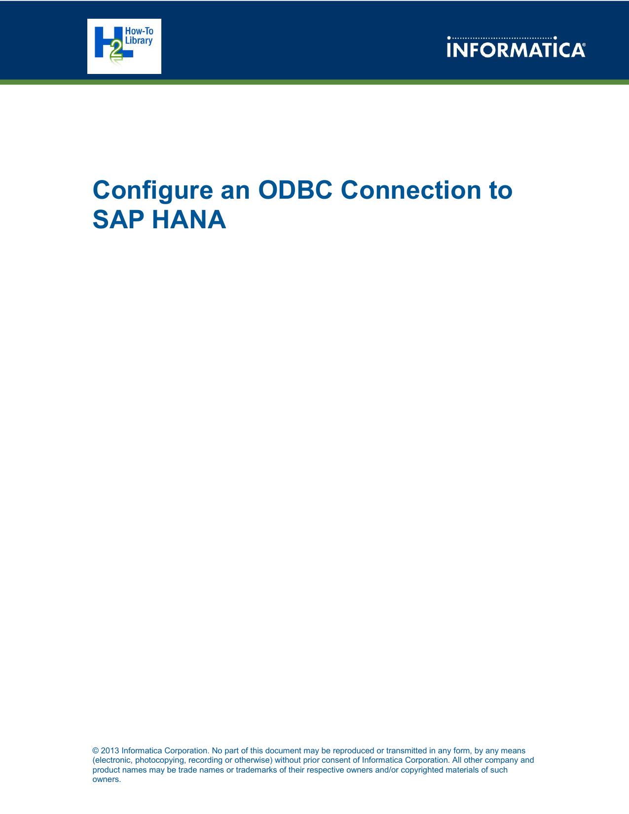 How To: Configure an ODBC Connection to SAP HANA | manualzz com