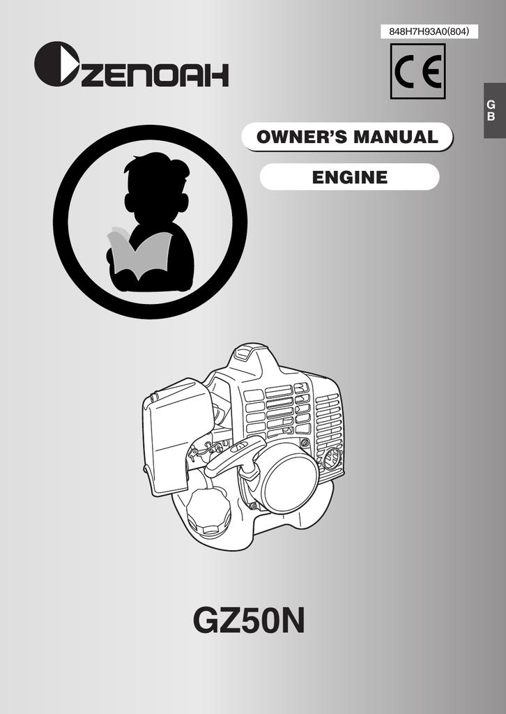 Zenoah GZ50N Owner`s manual | manualzz com