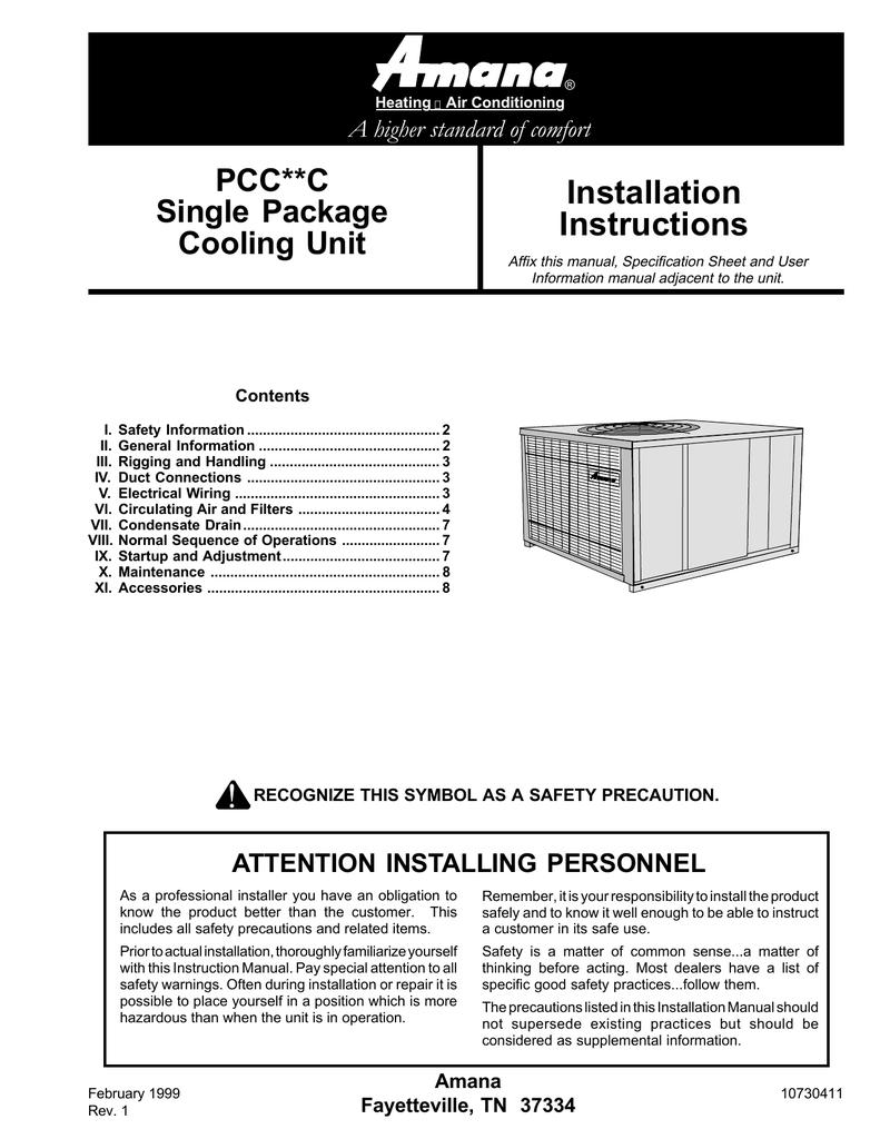 Amana PCC**C Unit installation | manualzz com
