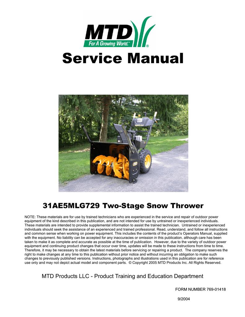 Mtd 31ae5mlg729 Service Manual Manualzz