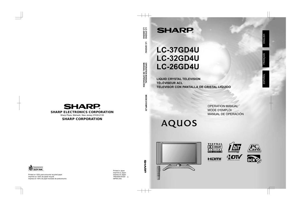 sharp aquos lc 26gd4u operating instructions manualzz com rh manualzz com sharp aquos 65 inch 4k tv manual sharp aquos 65 inch 4k tv manual