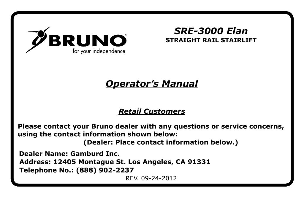Bruno Sre 3000 Elan Operator S Manual Manualzz Com