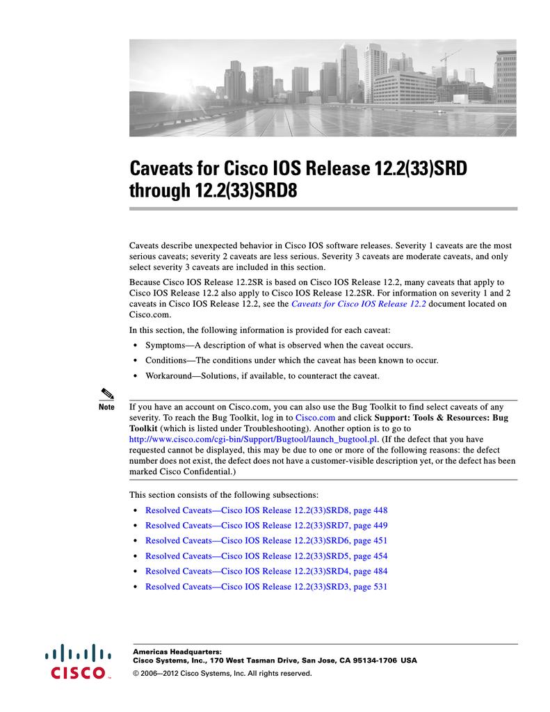 Resolved Caveats—Cisco IOS Release 12 2(33)SRD8 | manualzz com
