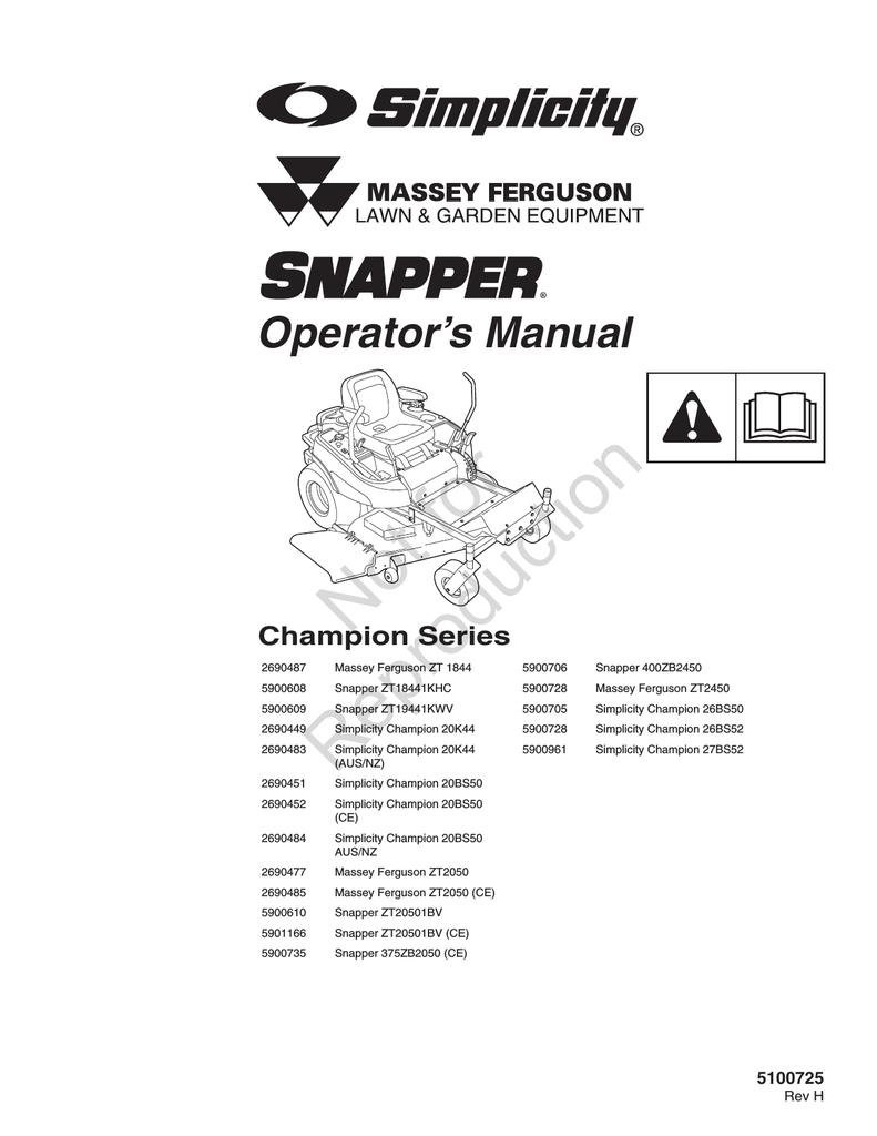 Simplicity 5900961 Operator`s manual | manualzz com