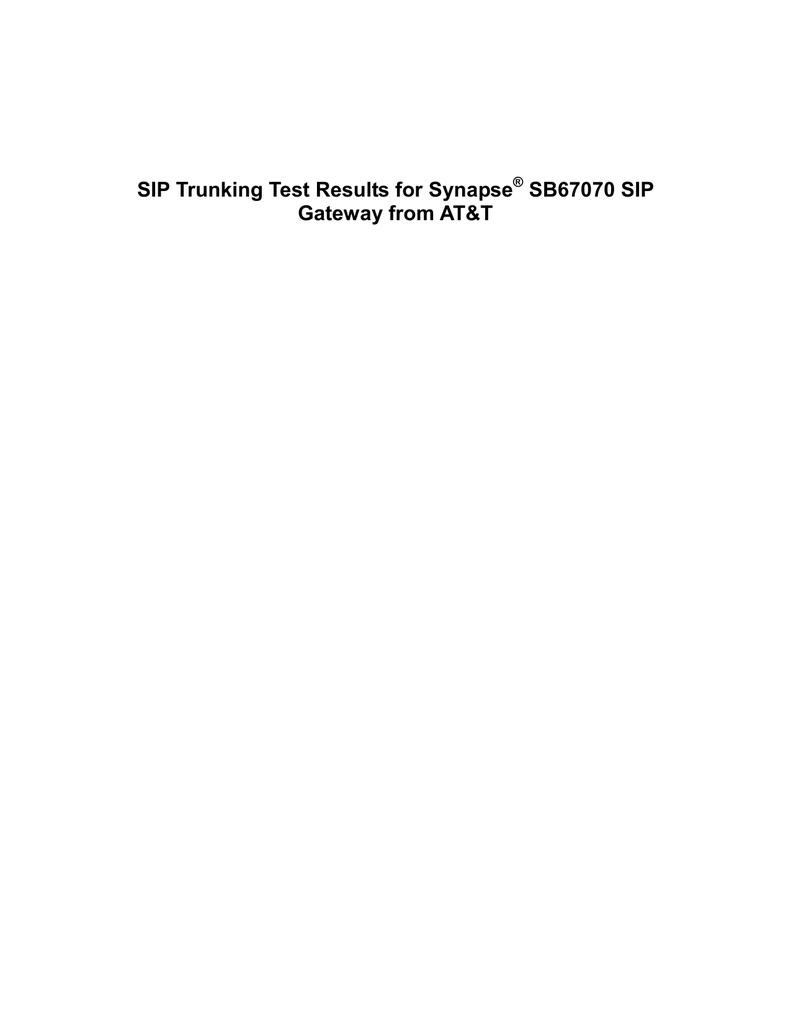Synapse ® SB67070 SIP Gateway configuration - Vtp | manualzz com
