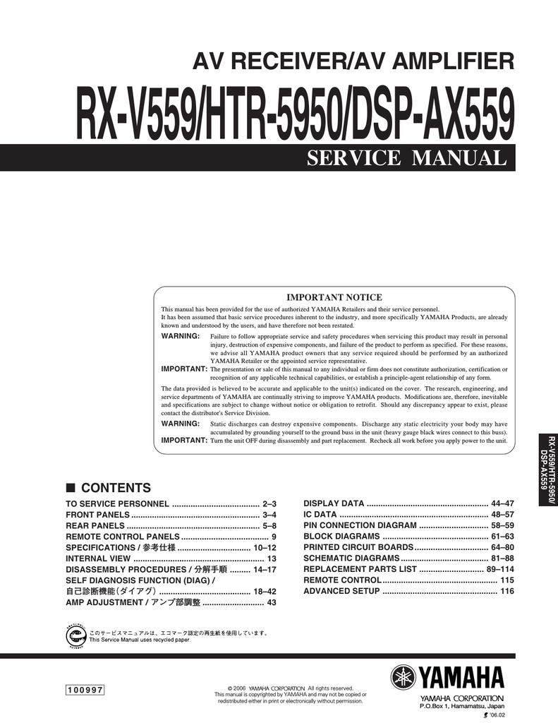 Yamaha Htr 5950sl Service Manual Yama Wiring Diagram